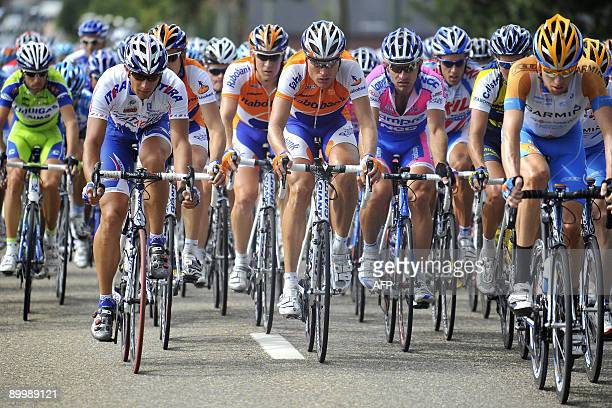 Hungarian Laszlo Bodrogi of team Katusha and Dutch Joost Posthuma of team Rabobank compete in the third stage of the Eneco Tour of Benelux cycling...