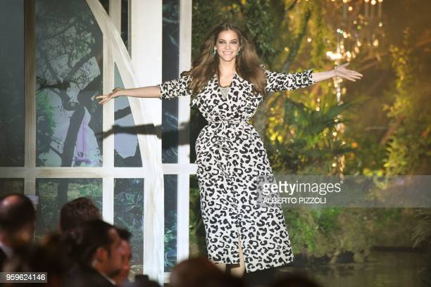 Hungarian model Barbara Palvin presents an outfit during an auction on May 17 2018 at the amfAR 25th Annual Cinema Against AIDS gala at the Hotel du...