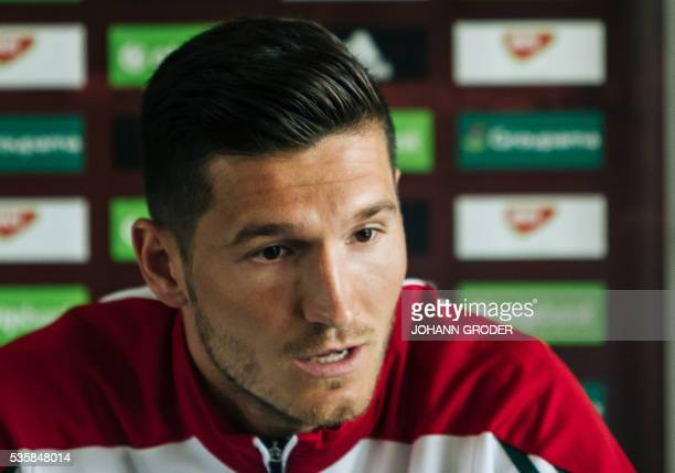Hungarian national team player Adam Pinter attends a press conference of Hungarian national football team in Leogang Austria on May 30 as part of the...