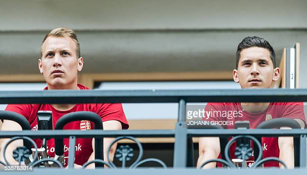 Hungarian national team players Adam Lang Mate Vida are pictured during a training session of Hungarian national football team in Leogang on May 30...