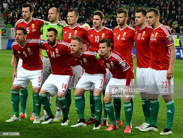 Hungarian national team pose before the Euro 2016 qualification soccer match between Hungary and Greece at Groupama Aréna in Budapest March 29 2015
