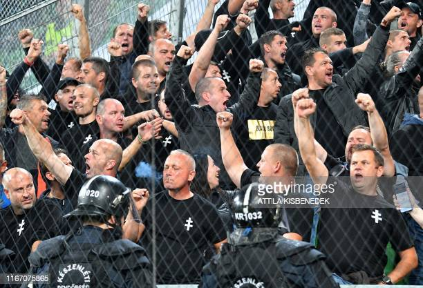 Hungarian nationalist from Slovakia cheer the Hungariam team prior to the UEFA Euro 2020 Group E qualification football match Hungary v Slovakia on...