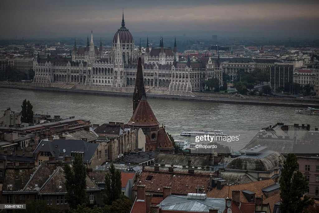 Hungarian Parliament Building across the Danube : Stock Photo