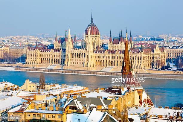hungarian parliament building and the river danube - sede do parlamento húngaro - fotografias e filmes do acervo