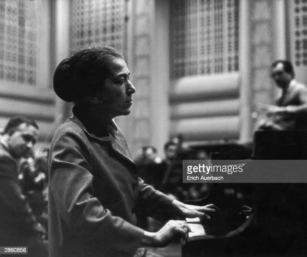 Hungarian pianist Annie Fischer pictured in concert in 1956
