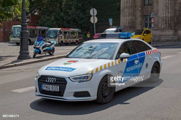 hungarian police car - gwengoat stock pictures, royalty-free photos & images