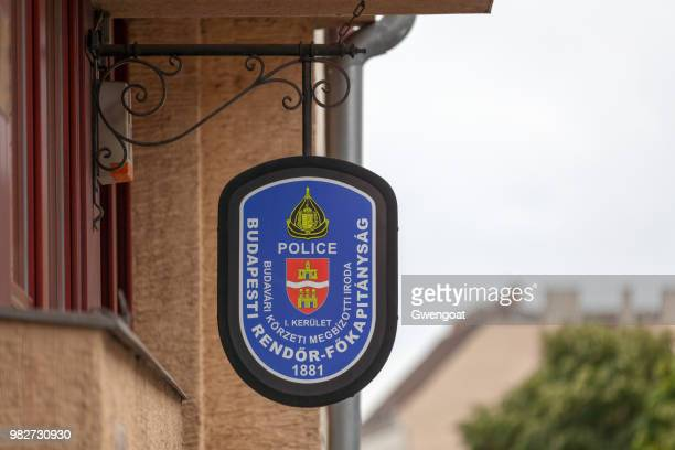hungarian police sign - gwengoat stock pictures, royalty-free photos & images