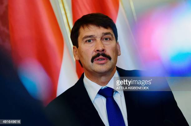 Hungarian President Janos Ader attends a press conference with his Croatian counterpart at the Marie Theresa Hall of the presidential palace of Buda...