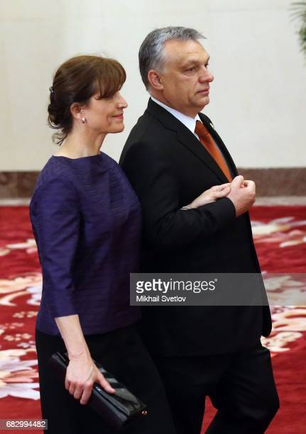 Hungarian President Viktor Orban and his wife Aniko Levai arrive to the dinner during the Belt and Road Forum for International Cooperation in...