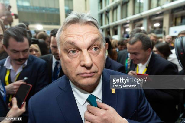Hungarian President Viktor Orban talks to media during a special European Council summit on February 21 2020 in Brussels Belgium European Union...