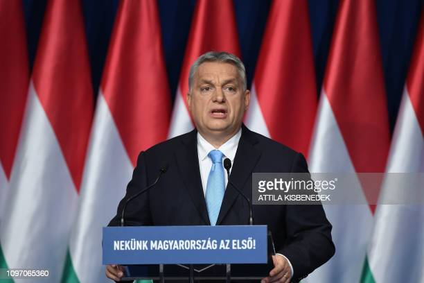 Hungarian Prime Minister and Chairman of FIDESZ party Viktor Orban delivers his state of the nation speech in front of his party members and...