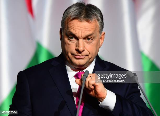 Hungarian Prime Minister and Chairman of FIDESZ party Viktor Orban delivers his state of the nation address in front of his party members and...