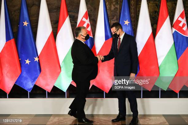 Hungarian Prime Minister Victor Orban and Polish Prime Minister Mateusz Morawiecki seen during the official start of the 30th anniversary of the V4...