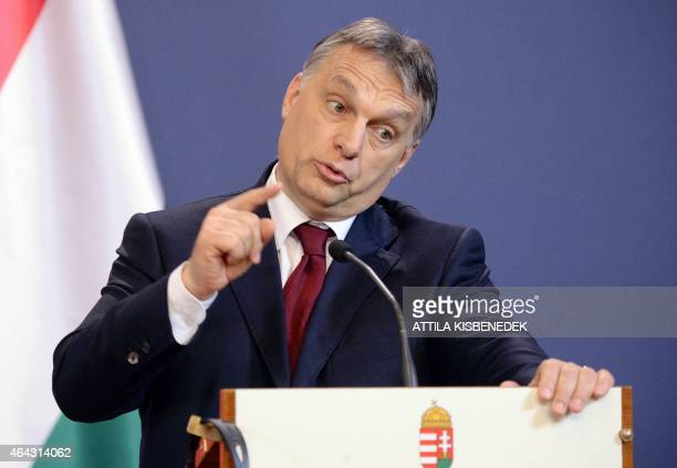 Hungarian Prime Minister Viktor Orban addresses a joint press conference with his Turkish counterpart at the Delegation Hall of the parliament...