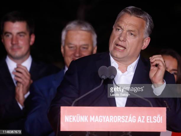 Hungarian Prime Minister Viktor Orban addresses supporters after the announcement of the partial results of European parliamentary election on May 26...