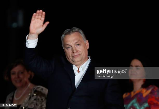 Hungarian Prime Minister Viktor Orban addresses the supporters after the announcement of the partial results of parliamentary election on April 82018...