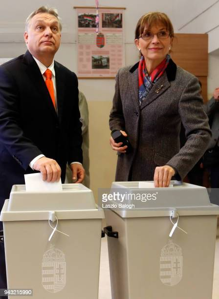 Hungarian Prime Minister Viktor Orban and his wife Aniko Levai cast their ballots on April 8 in Budapest Hungary Hungary hold the parlamentary...