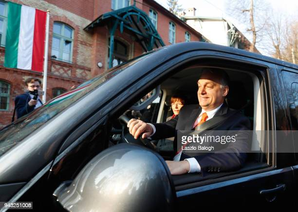 Hungarian Prime Minister Viktor Orban and his wife Aniko Levai leave from the polling station on April 8 in Budapest Hungary Hungary hold the...