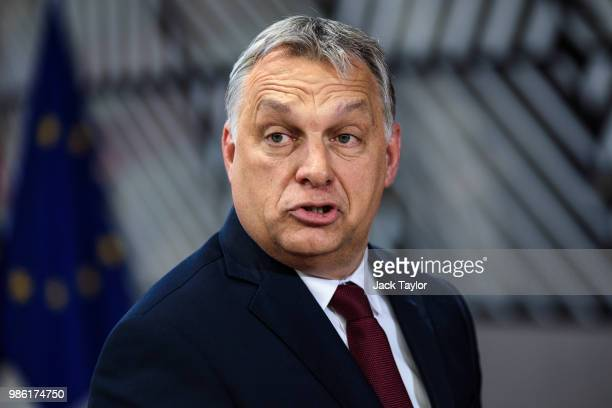 Hungarian Prime Minister Viktor Orban arrives at the Council of the European Union on the first day of the European Council leaders' summit on June...
