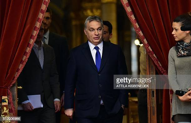 Hungarian Prime Minister Viktor Orban arrives at the Delegation Hall of the parliament building in Budapest on February 24 2016 prior to his press...