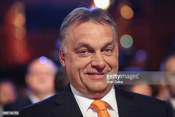 Hungarian Prime Minister Viktor Orban arrives at the Europaforum gathering of German broadcaster WDR at the Foreign Ministry on May 8 2014 in Berlin...