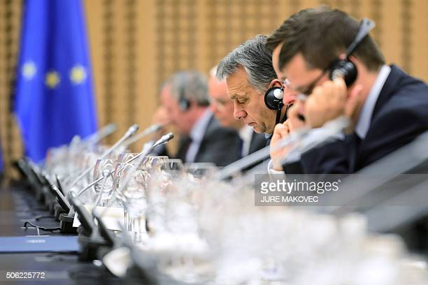 Hungarian Prime Minister Viktor Orban attends a joint session of Slovenian and Hungarian governments in Brdo, near Kranj, on January 22, 2016. / AFP...