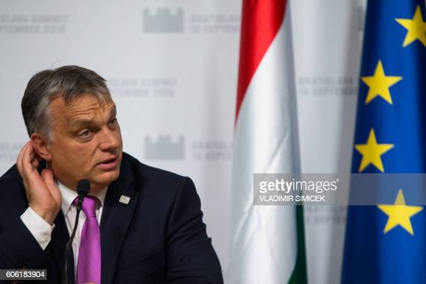 Hungarian Prime Minister Viktor Orban attends a press conference after the European Union Summit of 27 Heads of State or Government in Bratislava...