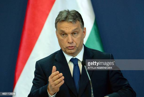 Hungarian Prime Minister Viktor Orban attends a press conference with his Georgian counterpart in Delegation Hall of the parliament building in...
