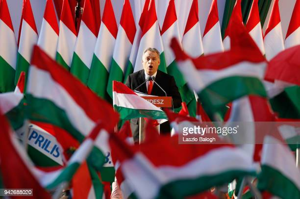 Hungarian Prime Minister Viktor Orban attends his Fidesz party campaign closing rally on April 6 2018 in Szekesfehervar Hungary Hungary will hold a...