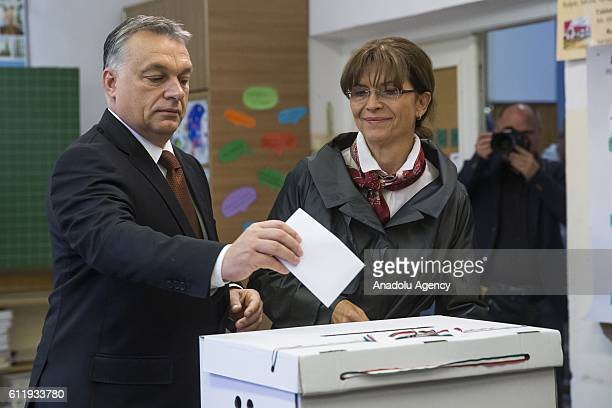 Hungarian Prime Minister Viktor Orban cast his vote at a polling station during a referendum on EU migrant quotas in Budapest Hungary October 2 2016