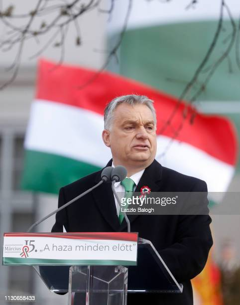 Hungarian Prime Minister Viktor Orban delivers a speech in front of the National Museum during Hungary's National Day celebrations on March 15 2019...