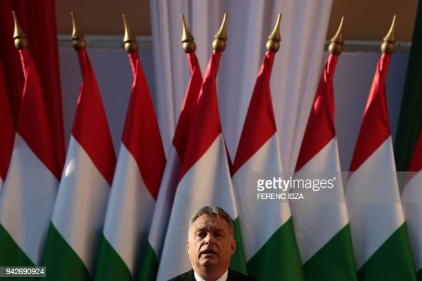 TOPSHOT Hungarian Prime Minister Viktor Orban delivers his speech during the last campaign event of his Fidesz party in Szekesfehervar Hungary on...