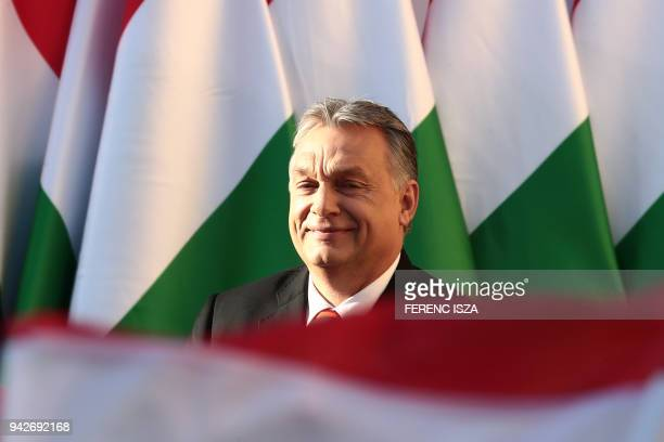 Hungarian Prime Minister Viktor Orban delivers his speech during the last campaign event of his Fidesz party in Szekesfehervar Hungary on April 6...