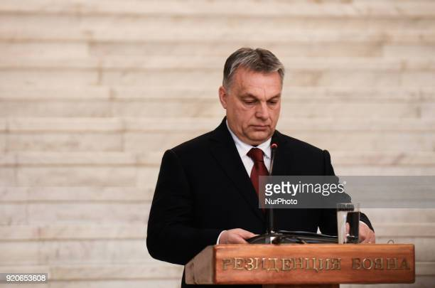 Hungarian Prime Minister Viktor Orban during press conference with the Bulgarian Prime Minister Boyko Borisov following a bilateral governmental...