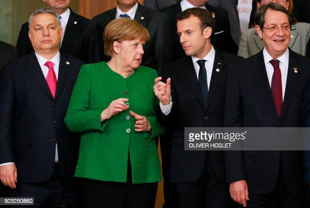 Hungarian Prime Minister Viktor Orban German Chancellor Angela Merkel French President Emmanuel Macron and Cyprus President Nicos Anastasiades pose...