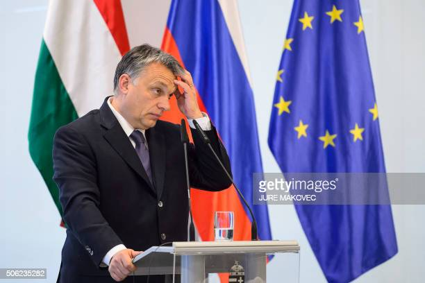 Hungarian Prime Minister Viktor Orban gestures during a press conference after meeting with his Slovenian counterpart in Brdo, near Kranj, Slovenia,...