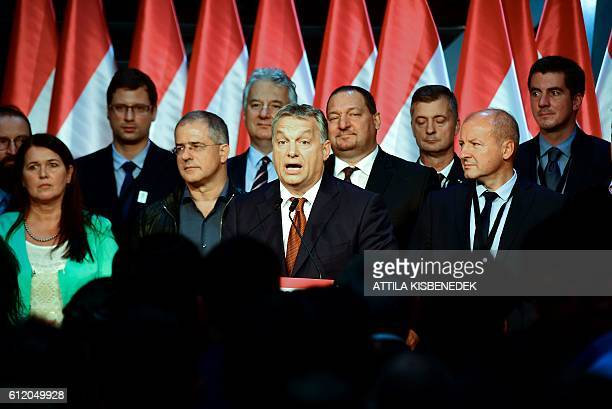 Hungarian Prime Minister Viktor Orban gives a speech in 'Balna' cultural center in Budapest on October 2 2016 Hungarian Prime Minister Viktor Orban...