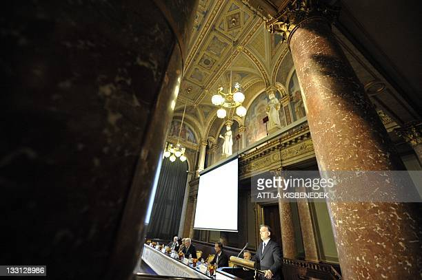 Hungarian Prime Minister Viktor Orban gives his opening speech during the first day of the World Sciences Forum in the Ceremonial Hall of Hungarian...