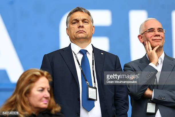 Hungarian Prime Minister Viktor Orban is seen prior to the UEFA EURO 2016 Group F match between Austria and Hungary at Stade Matmut Atlantique on...