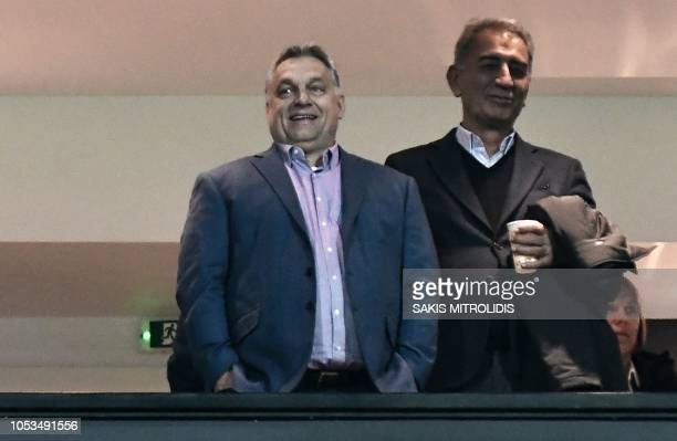 Hungarian Prime Minister Viktor Orban looks on during the UEFA Europa League Group L firstleg football match between Paok Thessaloniki and Vidi at...