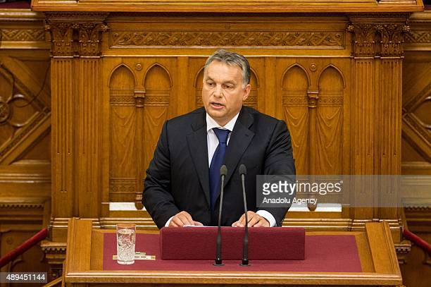 Hungarian Prime Minister Viktor Orban makes a speech over European refugee crisis at Hungarian Parliament in Budapest Hungary on September 21 2015