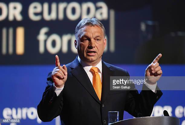 Hungarian Prime Minister Viktor Orban speaks at the Europaforum gathering of German broadcaster WDR at the Foreign Ministry on May 8 2014 in Berlin...