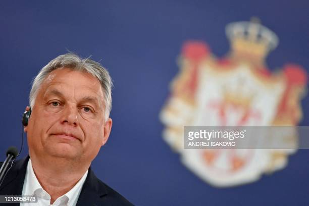 Hungarian Prime Minister Viktor Orban speaks during a joint press conference with the Serbian President in Belgrade on May 15, 2020.