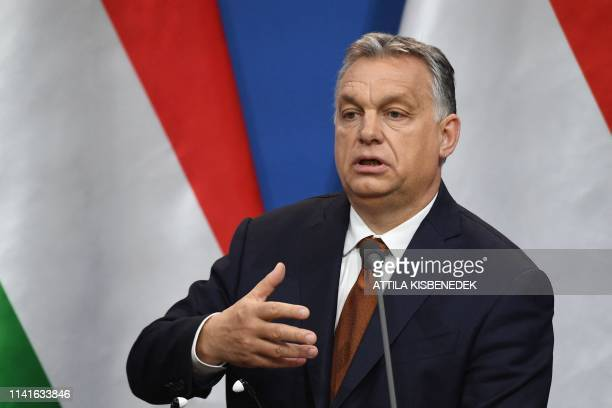 Hungarian Prime Minister Viktor Orban speaks during a press conference with Austria's Vice-Chancellor and chairman of the Freedom Party FPOe at the...