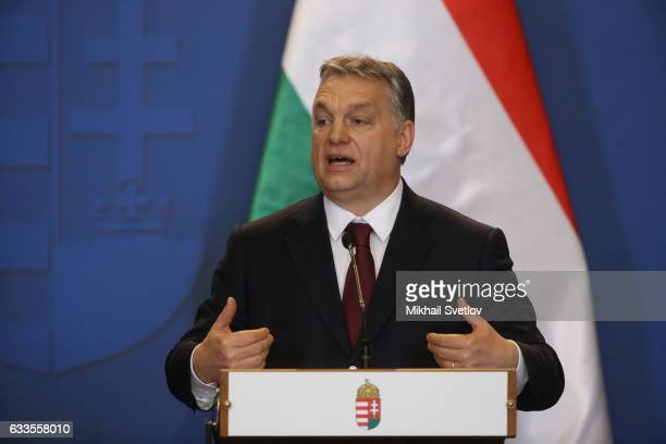 Hungarian Prime Minister Viktor Orban speaks during his joint press conference with Russian President Vladimir Putin February 2 2017 in Budapest...