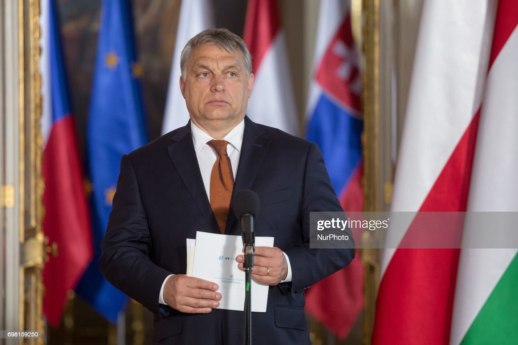 Hungarian Prime Minister Viktor Orban speaks during the Visegrad Group meeting at the Royal Castle in Warsaw, Poland on 19 June 2017