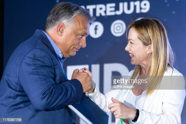 Hungarian Prime Minister Viktor Orbán and Giorgia Meloni leader of the Brothers of Italy party speak during the Atreju 2019 youth meeting that takes...