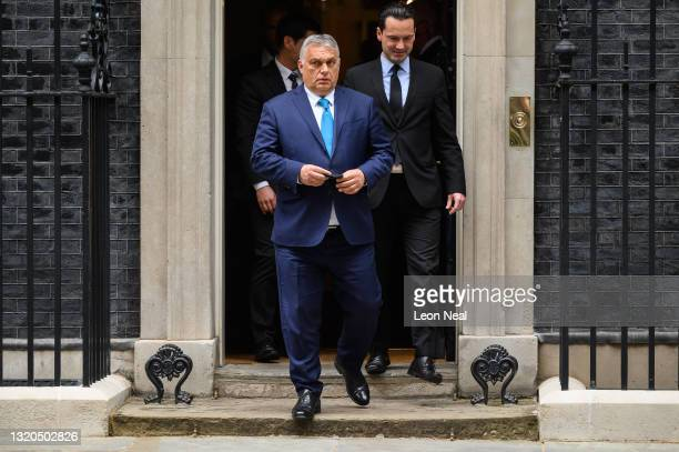 Hungarian Prime Minister Viktor Orbán leaves number 10 after a meeting with UK Prime Minister Boris Johnson at Downing Street on May 28, 2021 in...