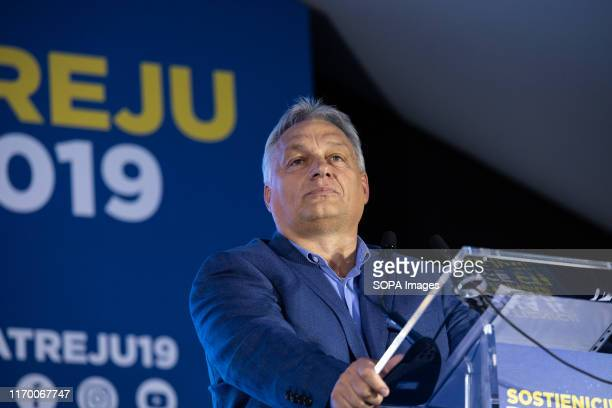Hungarian Prime Minister Viktor Orbán speaks during the Atreju 2019 youth meeting that takes place every year since 1998 The 2019 edition took place...
