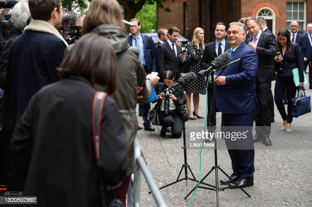 Hungarian Prime Minister Viktor Orbán speaks to the media after a meeting with UK Prime Minister Boris Johnson at Downing Street on May 28, 2021 in...